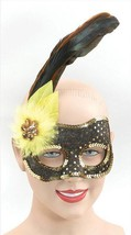 Nero/Paillettes Color Oro Viso / Giallo, Masquerade Maschera, Ballo in C... - $4.86 CAD