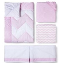 CIRCO 4 piece Crib Bedding Set PINK Chevron  Girls Zigs N Zags - $62.99