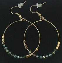 "Eeuu Hecho Gemelli Oro Chapado Cristal Verde Purpurina 1.5"" Aro Pendientes Nwt image 2"