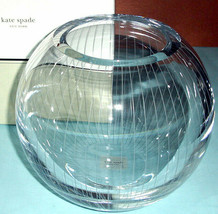 "Kate Spade Marlborough Street Rose Bowl 8"" Etched Crystal Pinstripes New In Box - $179.90"