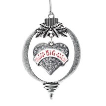 Inspired Silver Crimson Red and Rose Big Pave Heart Holiday Ornament - $14.69