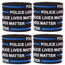 20 Police Lives Matter Wristbands Thin Blue Line Law Enforcement Awareness Bands - $19.79
