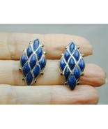 Vintage Sterling 9 Marquis Lapis Clip On Earrings - $29.99