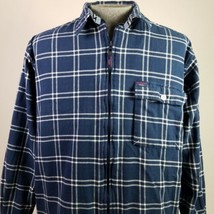 Tommy Jeans Flannel Shirt Full Zip Blue Plaid Mens Size Large Tommy Hilf... - $39.55