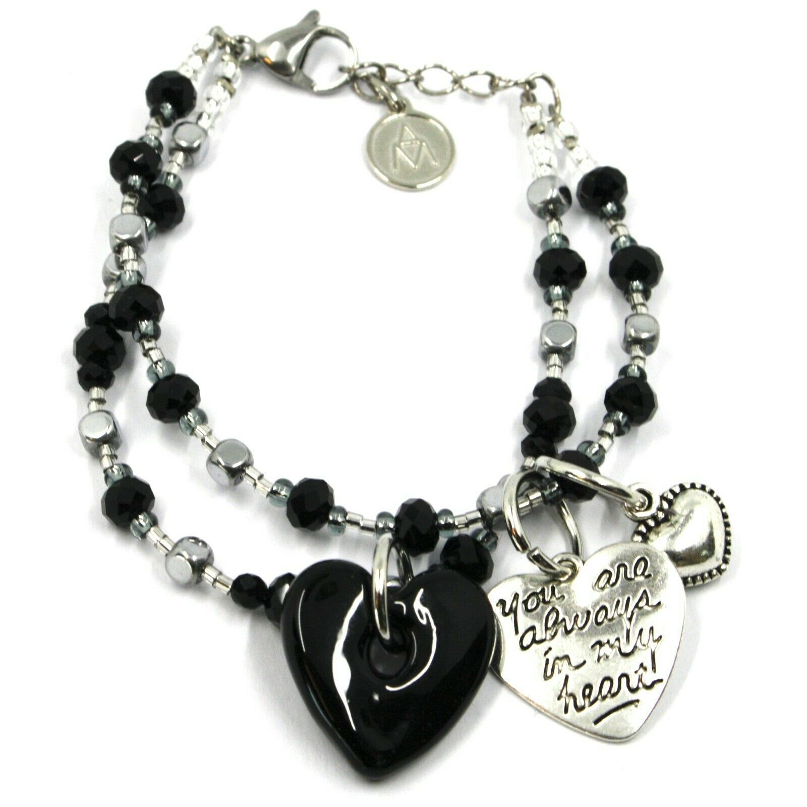 Bracelet Antica Murrina Venezia, BR843A14, Double Thread, Heart Glass Black