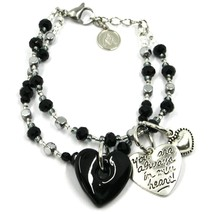 Bracelet Antica Murrina Venezia, BR843A14, Double Thread, Heart Glass Black image 1