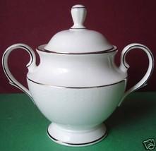 Lenox Herald Square White Sugar Bowl With Lid Platinum Trim New - $41.90