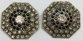 "Faceted Rhinestone Clip On Earrings Black Onyx White Octagon 1.5"" Vintage - $14.84"