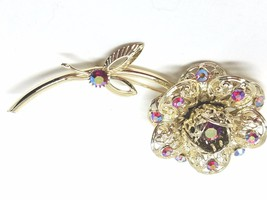Sarah Coventry Fashion Flower Pin with red aurora borealis rhinestones - $22.78