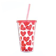 Cup with Lid Straw, Creative Double Wall Tumbler Cup, Travel Cup, Love B - $28.71