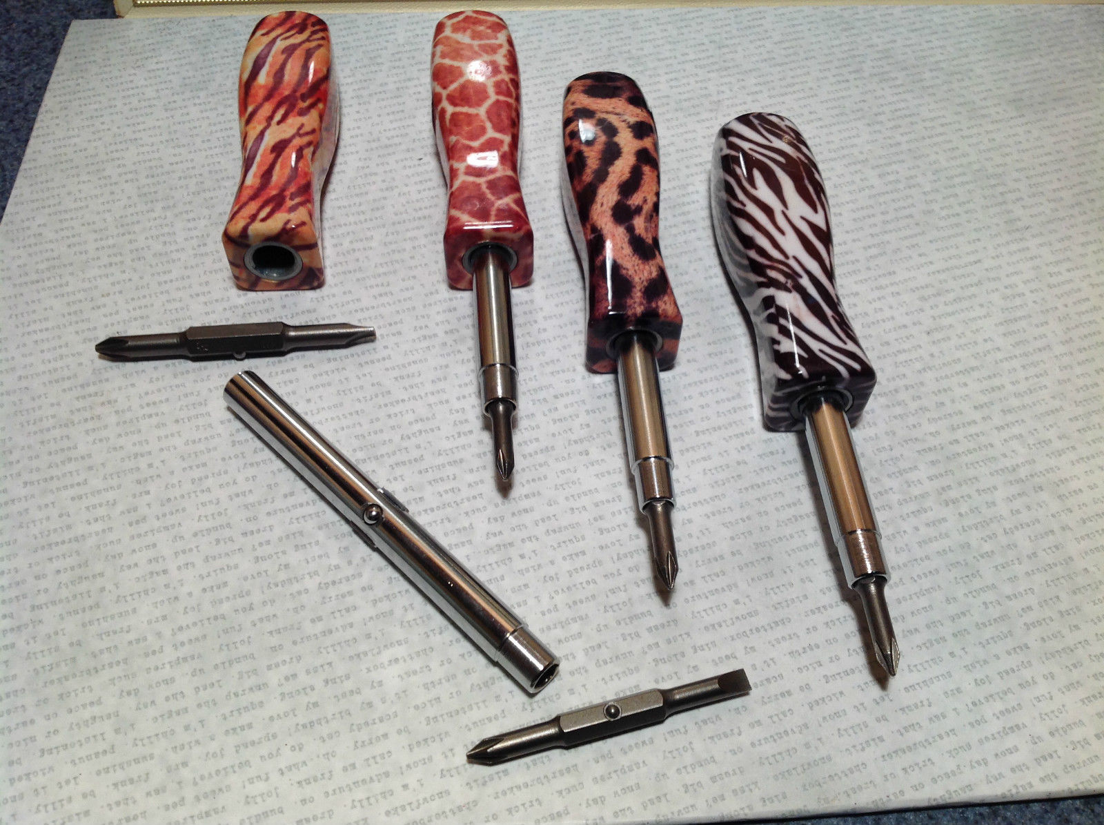 Fancy Printed Screwdriver Phillips and Flat Head Choose a Pattern 7 Inches Long