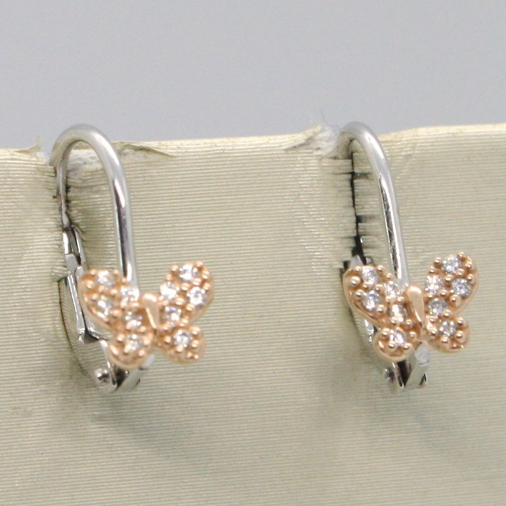 18K WHITE & ROSE GOLD BUTTERFLY LEVERBACK EARRINGS, WHITE ZIRCONIA MADE IN ITALY