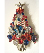 NEW RED WHITE & BLUE PATRIOTIC CHRISTMAS TREE BROOCH  FEATURING US FLAG - $27.99