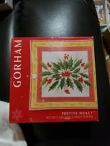 "Gorham Festive Holiday Crystal Candy Dish Plates 6"" square set 2 NIB - $12.86"