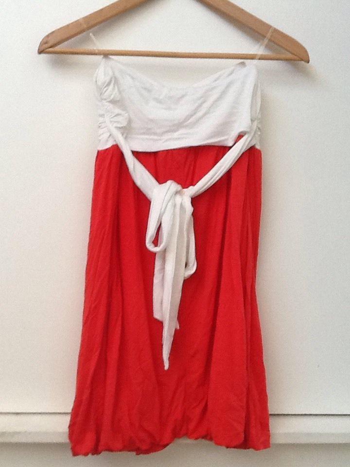 Women's Forever 21 Red Orange White Strapless Bubble Dress Size Medium