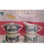 Train and Steamboat Cream and Sugar Set - Vintage Stoneware - $8.55