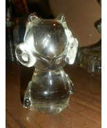 VINTAGE MCM BIG EYED OWL CLEAR ART GLASS PAPERWEIGHT FIGURINE PUDGY 5 IN... - $29.69