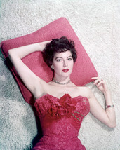 Ava Gardner 16x20 Canvas Giclee Lying on Pillow Busty in Red Dress - $69.99