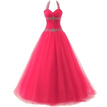 Women's Beading Halter Quinceanera Dresses Long Tulle Prom Dresses Forma... - $135.66
