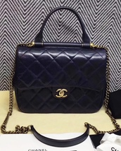 NEW AUTHENTIC CHANEL DARK BLUE QUILTED CALFSKIN GOLD BAR TOP HANDLE FLAP BAG