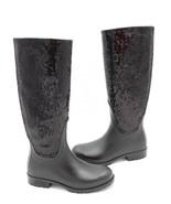 Yves Saint Laurent Festival 25 Black Rubber Sequins Knee-High Rain Boots... - $375.00
