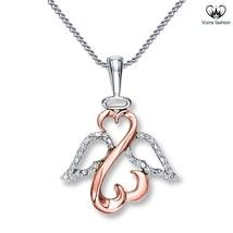 Diamonds 10k Rose Gold Plated Sterling Silver Open Heart Angel Pendant W... - £37.30 GBP