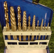 10pc IRWIN SCREW EXTRACTOR with LEFT HAND DRILL BITS Made in USA ez outs... - $59.99