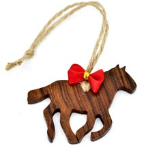 Hand Carved Ironwood Wood Folk Art Horse Silhouette Country Western Ornament