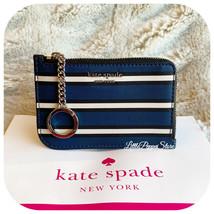 KATE SPADE CAMERON YORK STRIPE MEDIUM L-ZIP CARD HOLDER IN BLUE MULTI - $39.48