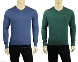 New Mens Tommy Hilfiger V Neck Light Solid Pima Cotton Pullover Sweater - $27.99
