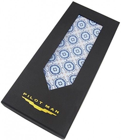 PilotMan Men's Tie Classic Formal Suit Necktie Jacquard Silk Tie With Gift Box