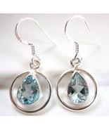 Faceted Blue Topaz Teardrop in Hoop Earrings 925 Sterling Silver Dangle ... - $30.68