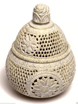 "5""x5""x6"" Marble Jewelry Box Jar Trinket Decor Flower Collectible Handmad... - $136.28"