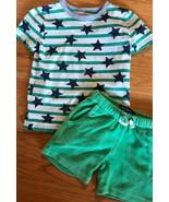 Mini Boden Striped/Star Tee Top T-Shirt + Toweling Shorts 5-6y EUC Green... - $38.61