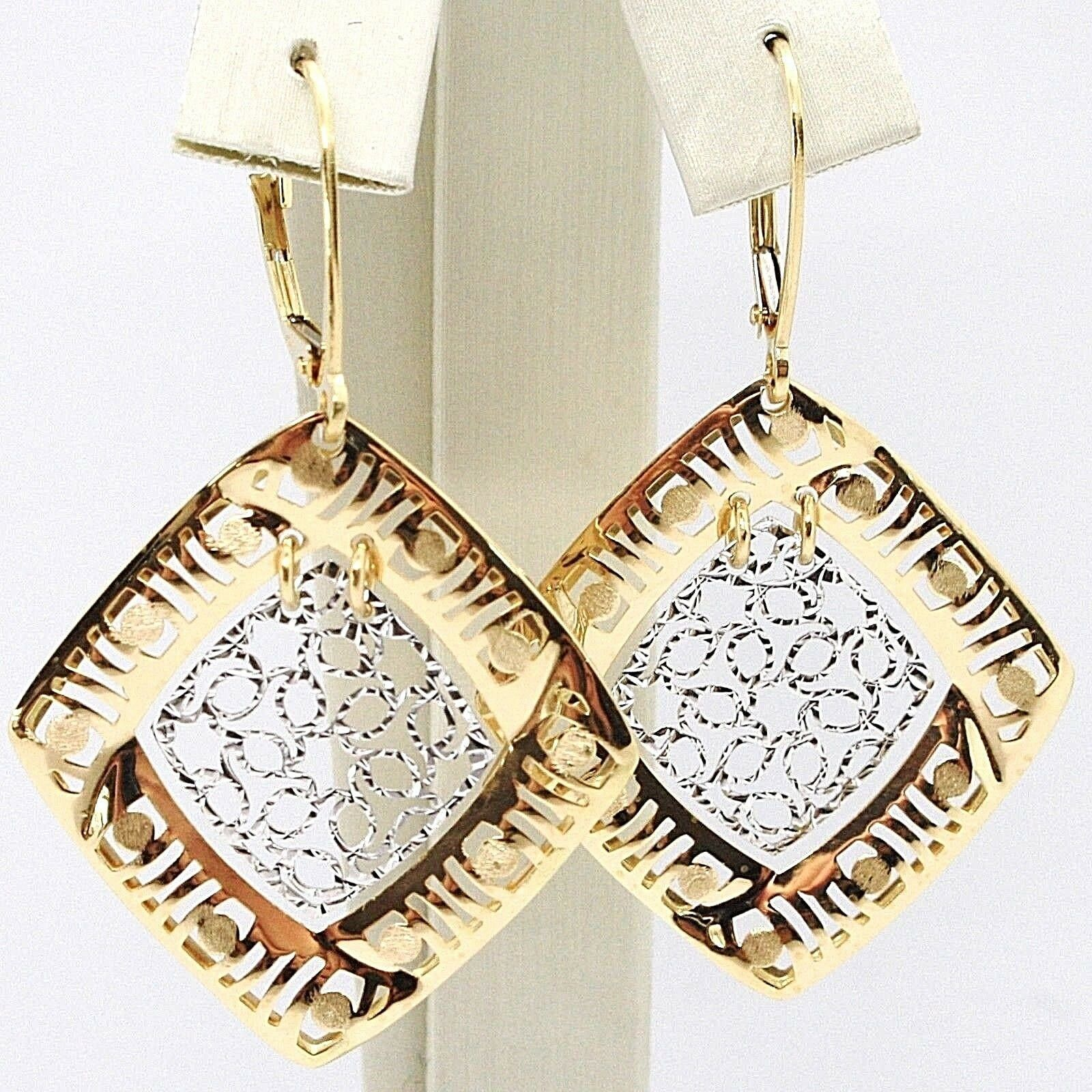 18K YELLOW WHITE GOLD PENDANT EARRINGS, FINELY WORKED RHOMBUS, MADE IN ITALY