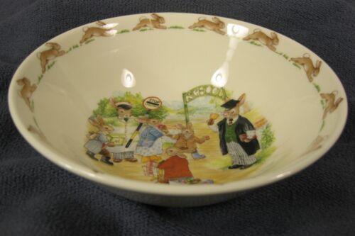 Royal Doulton Bunnykins Soup Cereal Bowl SCHOOL GATES Bone China England Vtg image 3