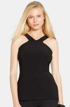 Lauren Ralph Lauren Women's Cutaway Shoulder V-Neck Tank Black Size Small - $23.27