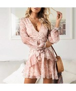 New blush pink floral V neck long sleeve ruffle belted women dress sprin... - $39.00
