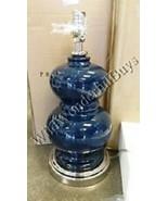 Pottery Barn Alexis Table Lamp Navy Blue 24H Ceramic Bedside NIB - $89.00