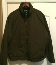 Men's Polo Ralph Lauren Full Zip Brown Green Jacket Padded Interior w/ Hood XL - $39.99