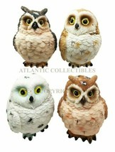 Colorful Great Horned Forest Snowy & Northern Pygmy Owl Chicks Figurine ... - $20.99