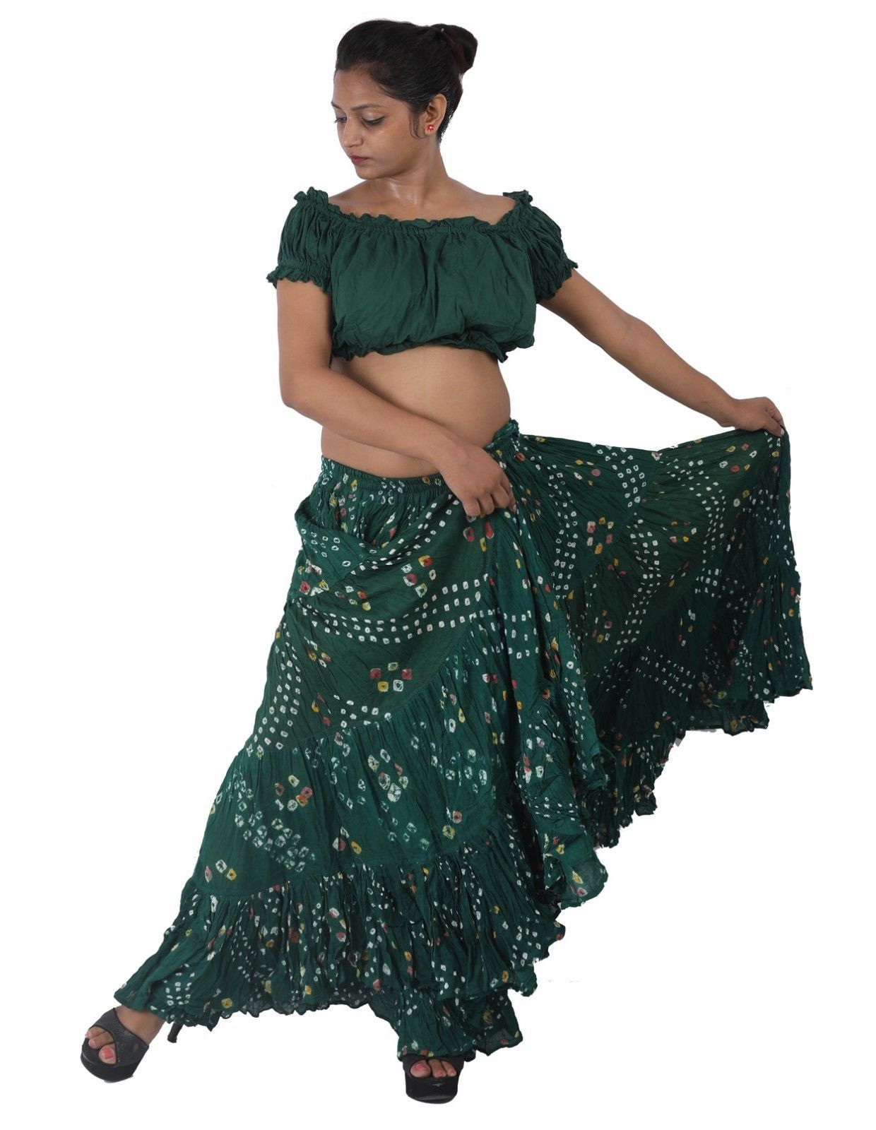Cotton JAIPUR Tribal 25 Yard 4Tier Gypsy Skirt Belly Dance  Tie /& Dye Polka Dot