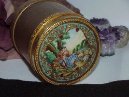 Antique Italy Dore' Gilt Bronze Enamel Powder Jar Humidor Lid Painting M... - $1,979.99