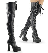 "PLEASER Sexy Black Platform Triple Buckle 5"" Heel Thigh High Boots ELE3028/B/PU - $89.95"