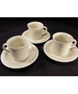 """3 JEPCOR STONEWARE CASUAL CLASSIC 3"""" T COFFEE CUPS & SAUCERS Beige Tan S... - $9.89"""