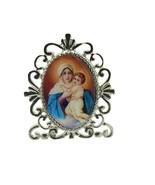 Religious Metal mini Desk Stand,Virgin Our Lady of  SCHOENSTATT LA MATER... - $9.78