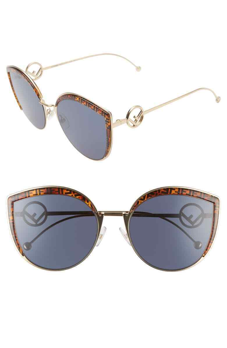 Fendi F is Fendi FF 0290/8 J5G Gold /Blue Butterfly Sunglasses 58mm