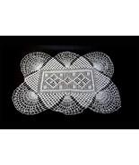 Hand Crocheted Linen Open Fan Pattern Doily 18 x 12 Mid Century Cotton T... - $13.90