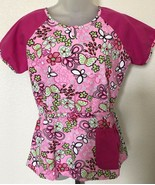 Womans Koi 360 Scrub Top Reversible Pink Floral Scrub Top sz Small - $18.80
