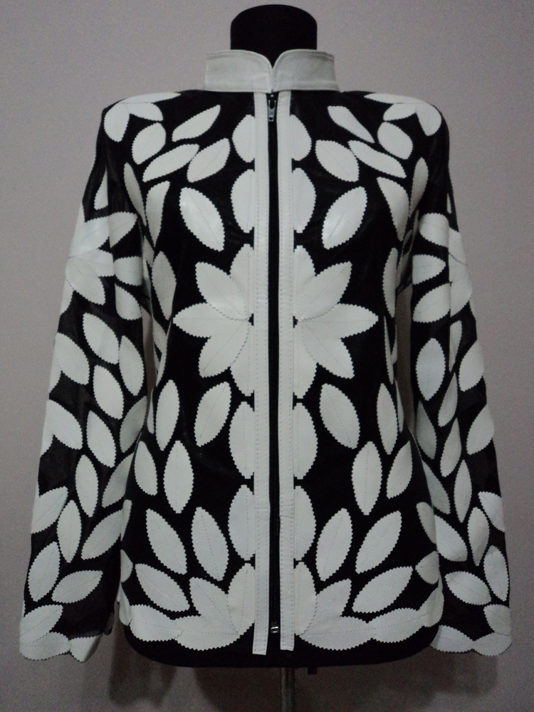 Primary image for White Leather Leaf Jacket Women All Colours Sizes Genuine Lambskin Zip Short D2